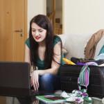 girl choosing the resort at internet