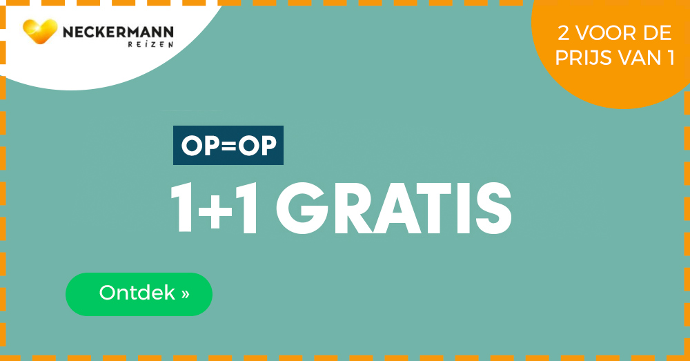 Neckermann 1 plus 1 gratis actie