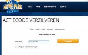 Zo ziet de website er uit om de actiecode te verzilveren