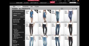 Levi's online shop is donker, net zoals de winkels om een warme sfeer uit te brengen.