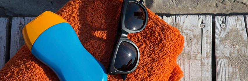 Strandspullen.Lege-zonnebrand