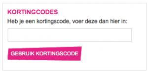 Dit is het kortingscode veld dat je ziet op hun site, hier vul je de code in die je op promo-code.be ziet