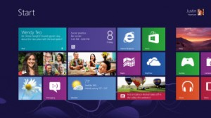 De startmenu in Windows 8 zijn nu grote vakken.